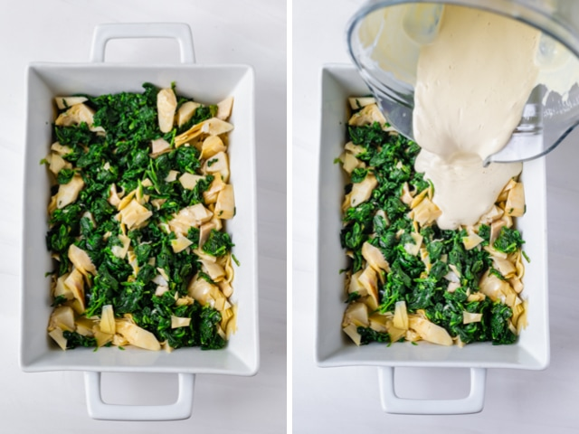 Collage showing two images: white baking dish with spinach and artichoke and then the sauce being poured over