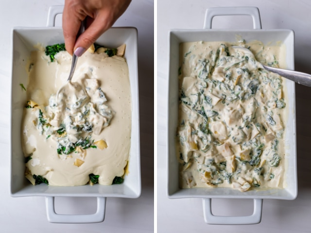 Collage showing two images of the baking dish before and after mixing the vegan spinach artichoke dip