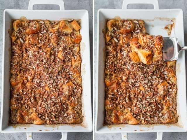 Collage of two images showing the final baked french toast before and after slicing