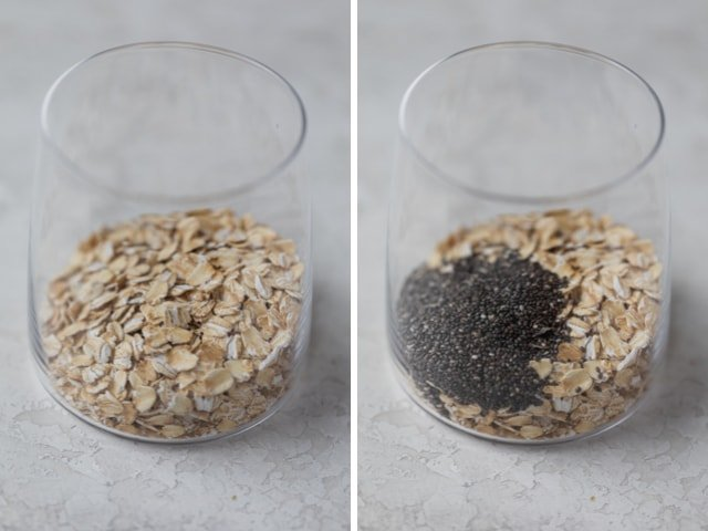 Collage showing step by step making of overnight oats: oats + chia seeds