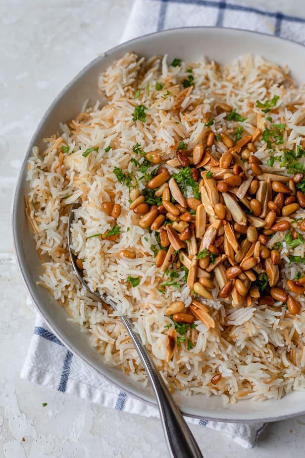 Close up shot of Lebanese rice recipe