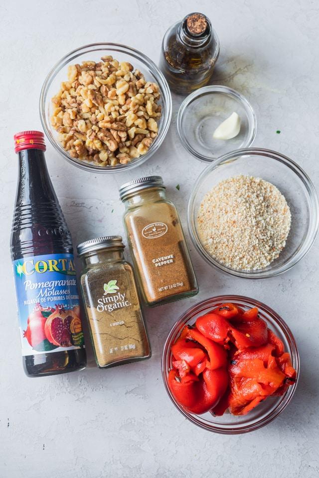 overhead shot of ingredients for Homemade Muhammara Dip