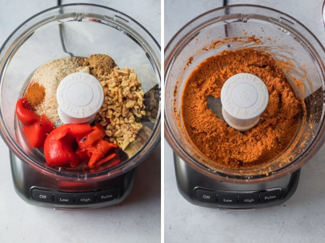 collage of ingredients being blended in a blender