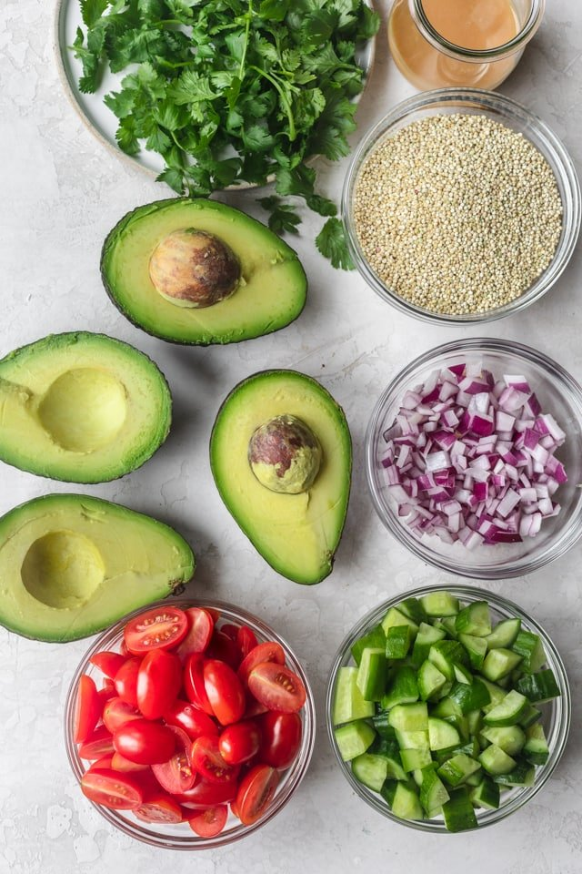 Ingredients to make quinoa avocado salad