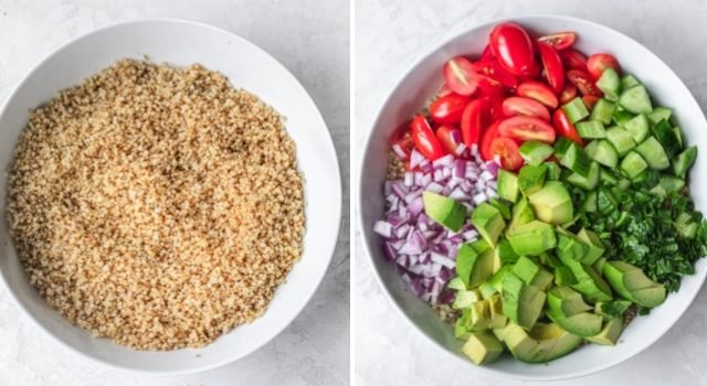 Collage of two images showing assembly of quinoa avocado salad