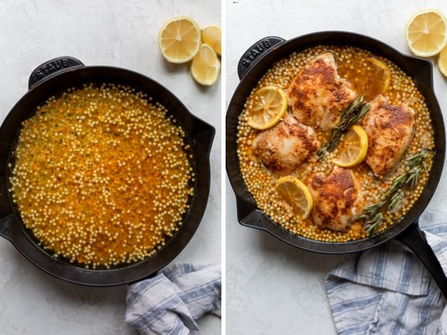 Collage of two images showing couscous in a skillet with water and then with the chicken and lemon slices being added