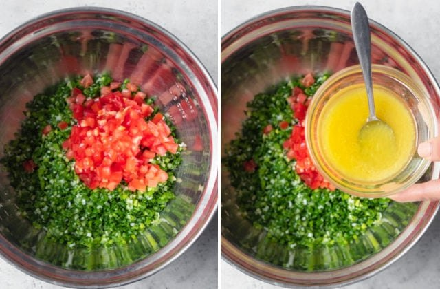 Collage of two images showing the ingredients getting mixed