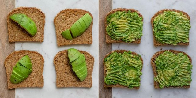 Collage of sliced bread with sliced avocados on top and then the avocados getting mashed