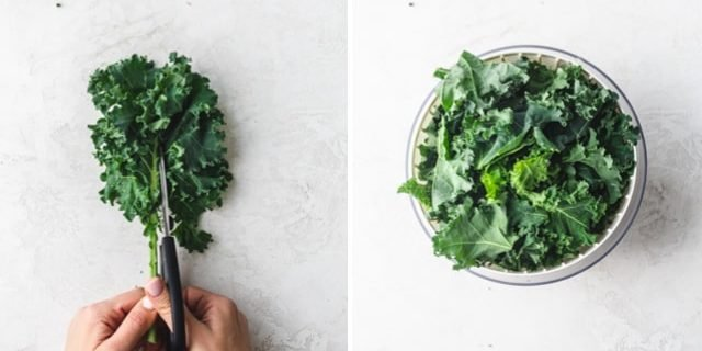 Collage showing the fresh kale getting cut and dried to make baked kale chips