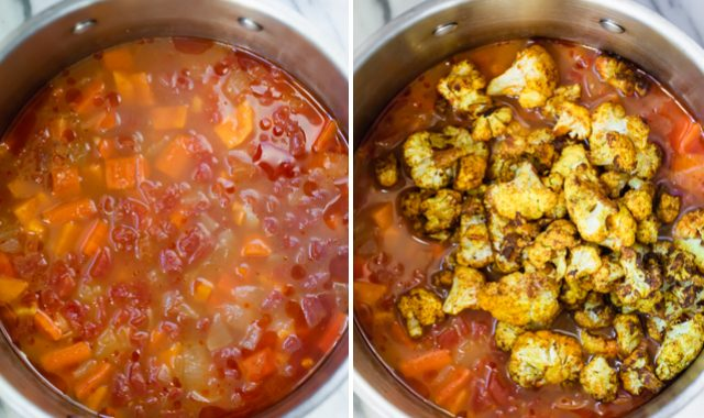 Two photos to show how to make the Sweet potato cauliflower soup in a pot