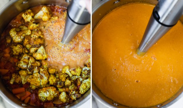 Blending the Sweet potato cauliflower soup with an immersion blender