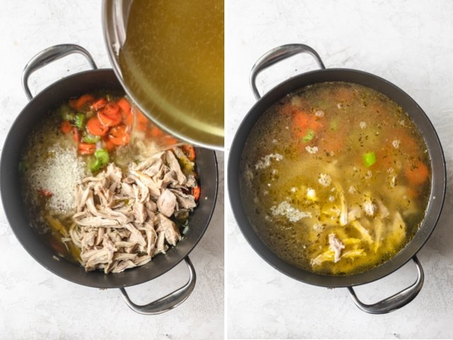 Collage of two images showing vegetables, rice and chicken with the chicken broth getting poured over