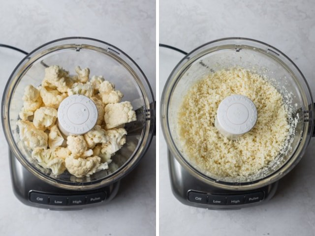 Collage showing cauliflower in a food processor