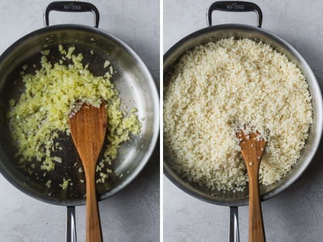 Collage showing how to cook cauliflower rice with onions