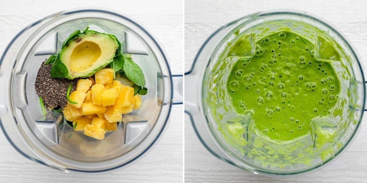 Collage of two images showing the ingredients in a blender before blending and at the beginning of the blend