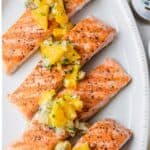 Grilled salmon plated with the citrus salsa