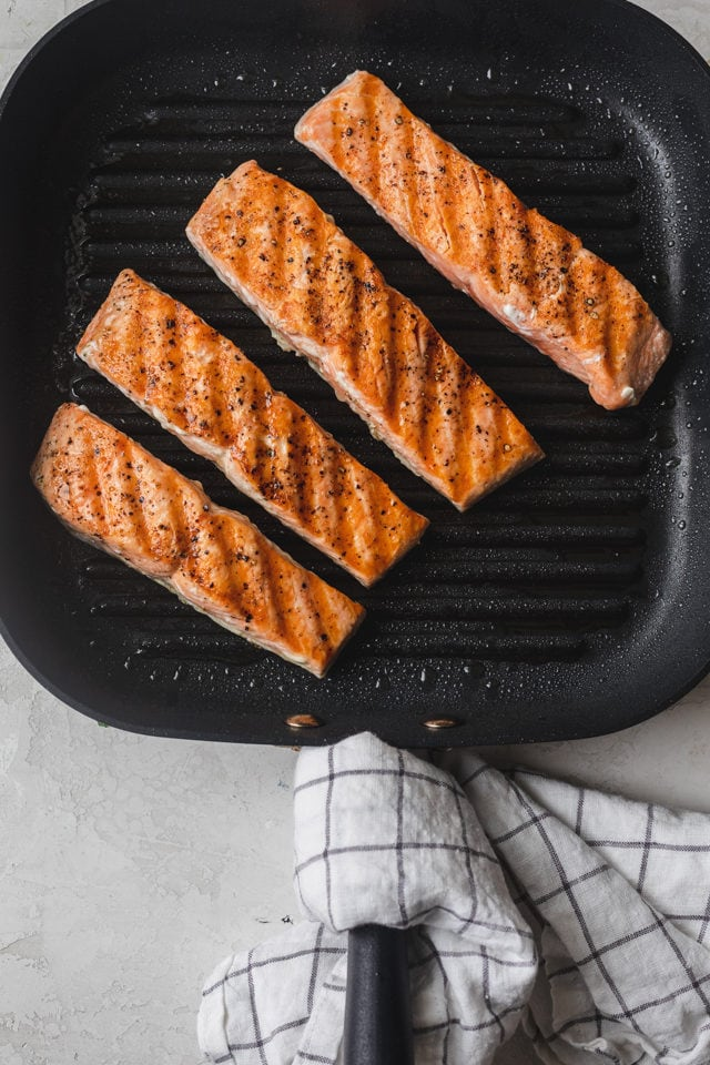 Grilled salmon on an indoor grill pan