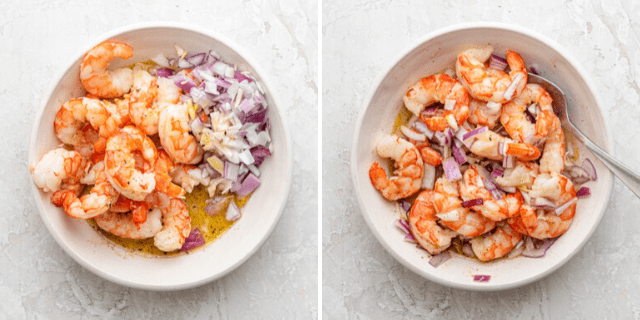 Process shots to show the shrimp with onions and dressing before and after mixing