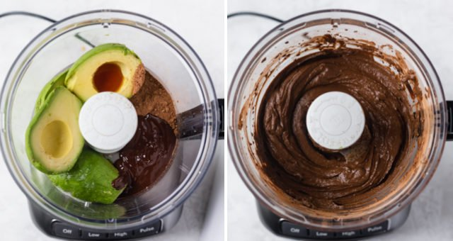 Collage showing food processor with ingredients for avocado chocolate mousse before and after blending