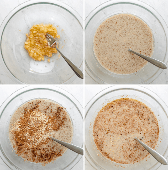 Process shots to show how to mix the oat batter