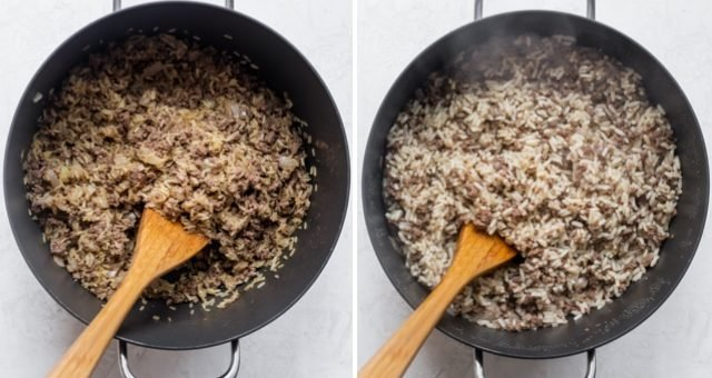 Collage or the rice and beef mixture before and after cooking for stuffed peppers