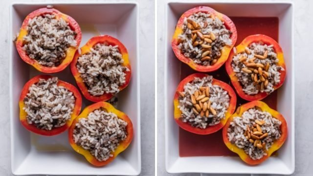 Collage of stuffed peppers before and after the sauce is added