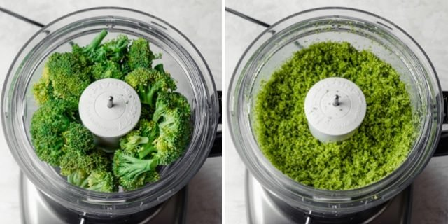 Collage showing how to make broccoli rice