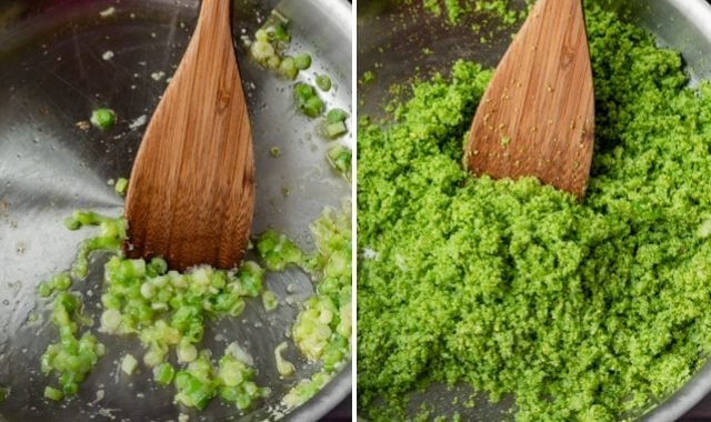 Collage showing how to cook broccoli rice