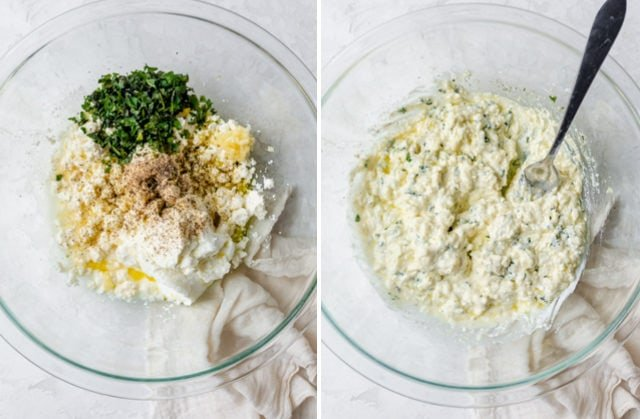 Collage of ingredients in a large bowl to make creamy feta dip - before and after mixing