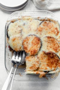 Eggplant moussaka with a slice removed