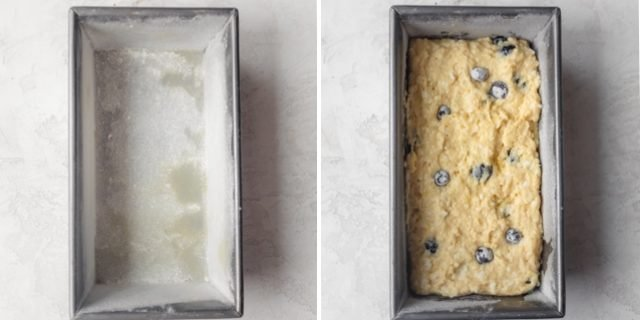 Collage of two images showing the loaf pan with the flour and then with the batter