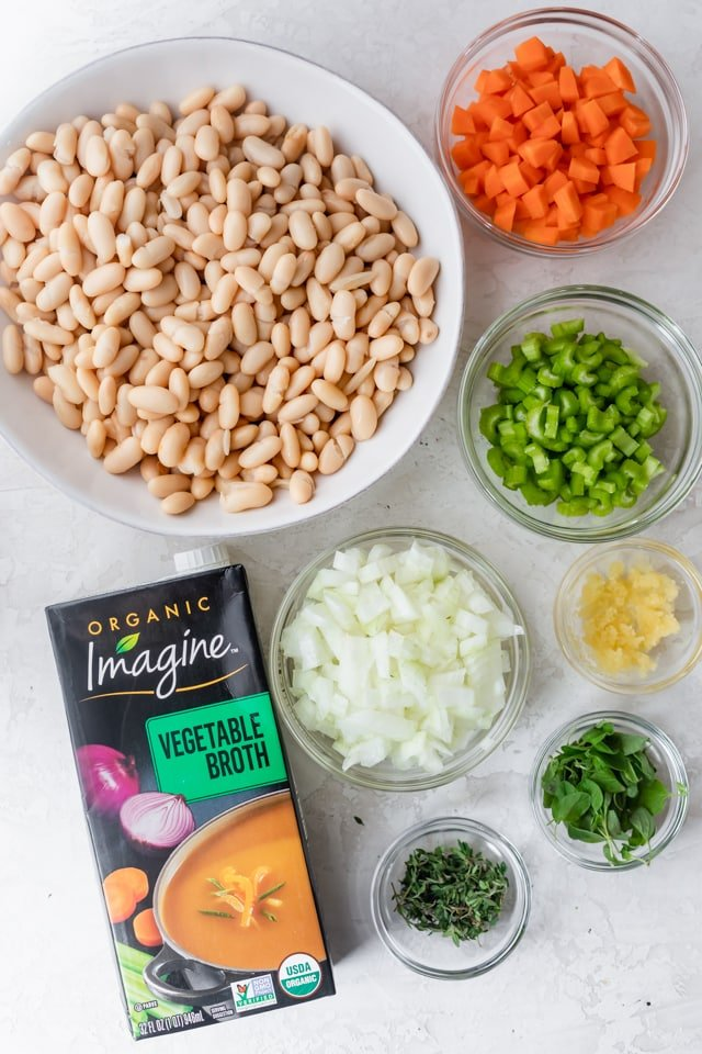 Ingredients to make Mediterranean white bean soup