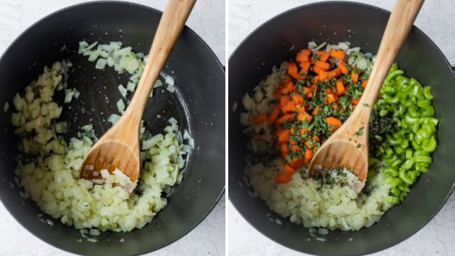 Collage showing steps to make white bean soup - saute onions, then add carrots and celery