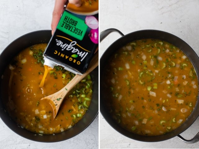 Collage showing steps to make white bean soup - add the broth then simmer