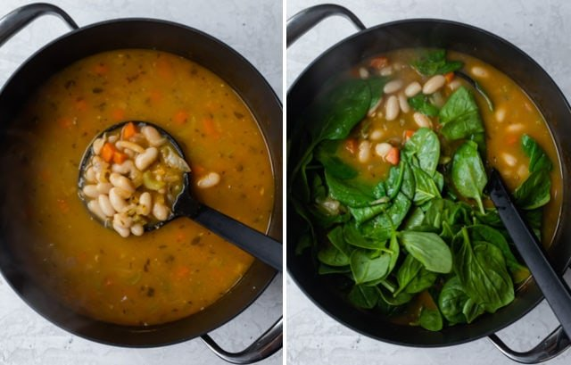 Collage showing steps to make white bean soup - showing before and after adding the spinach