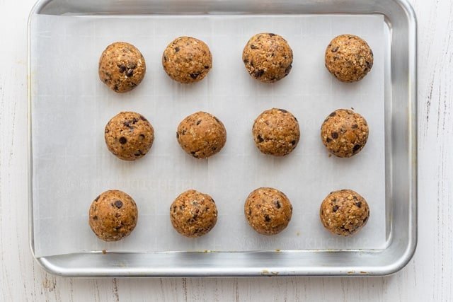 Tray of energy balls after they've been formed