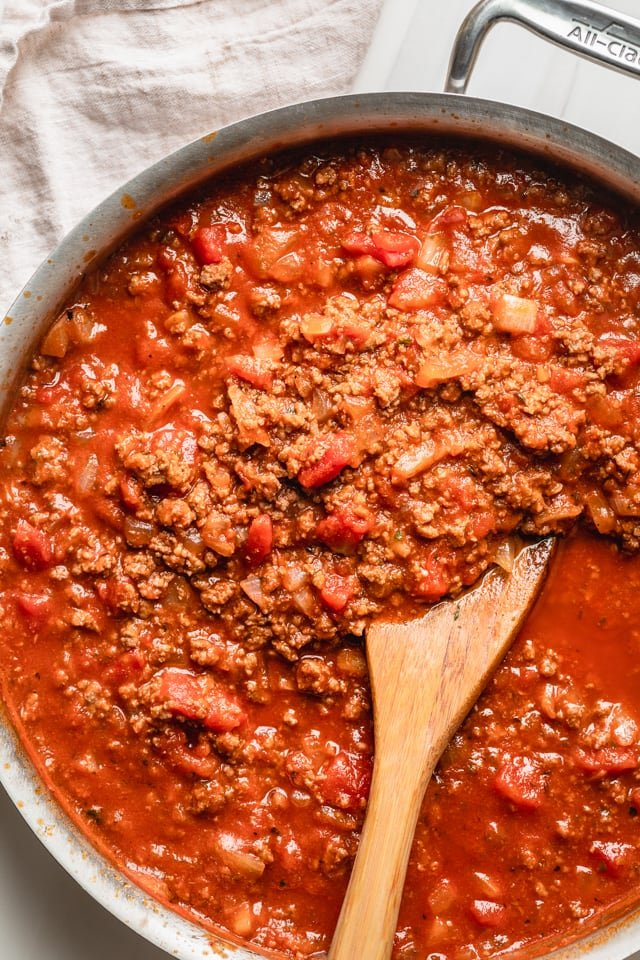 Bolognese sauce in a large saucepan