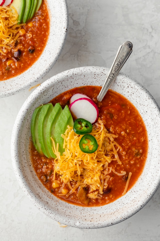 Vegetarian tortilla soup made with quinoa, corn and black beans