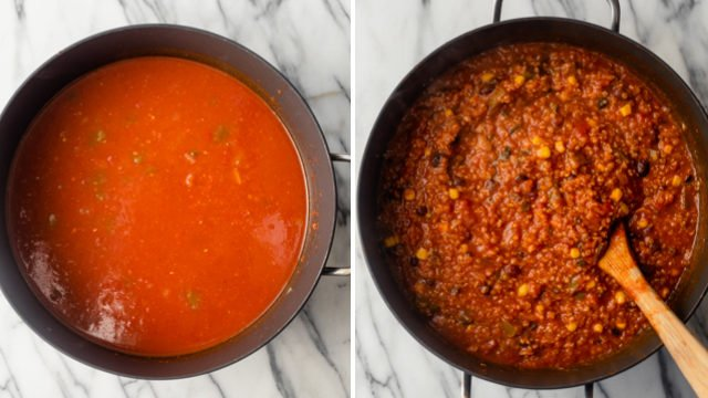 Collage showing how to make the soup before and after the quinoa is added