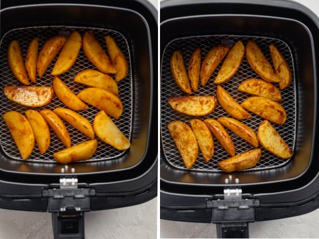 Collage showing air fryer potatoes before cooking and then at the halfway point of cooking