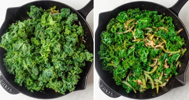 Collage to show how to make green shakshuka: showing kale before and after it cooks