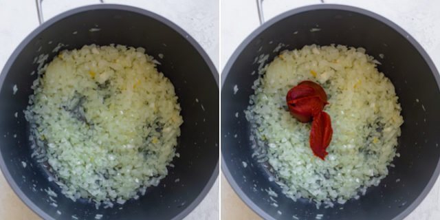 Collage showing recipe in progress - frying onions, then adding tomato paste