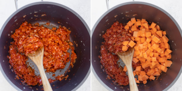 Collage showing recipe in progress - mixing onions with tomato paste, then adding sweet potatoes
