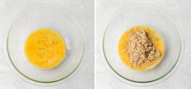 How to make pizza quinoa bites: Collage of eggs, then quinoa
