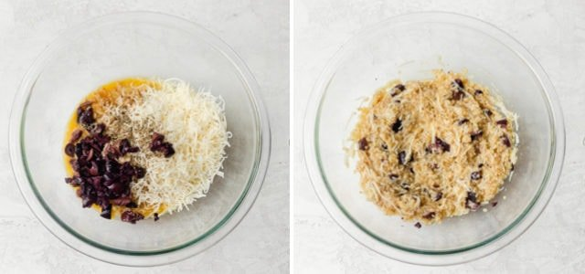 How to make pizza quinoa bites: Collage showing all the ingredients before and after mixing