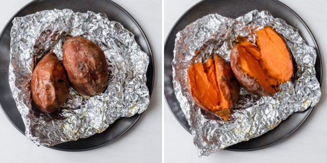 Collage of roasted sweet potatoes before and after cutting into them