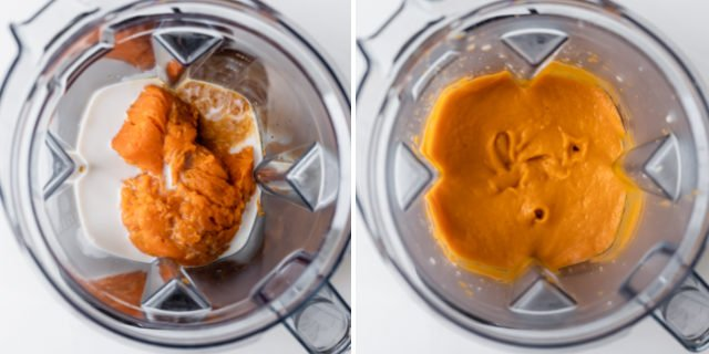 Collage of wet ingredients being mixed in blender