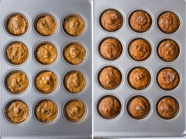 Collage of the muffins in the tin before and after baking
