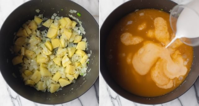 Collage of the process of making the soup - potatoes and onions, then broth and vegan milk