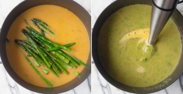 Collage of process of making soup before and after blending in the roasted asparagus